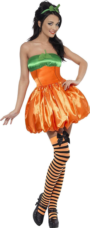 Kürbis Damenkostüm Orange mit Kleid und Haarreifen, X-Small NEU OVP    Guter Markt