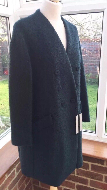 Zara  Dark Teal Green  Wool & Mohair Mix Oversized Coat Size L BNWT