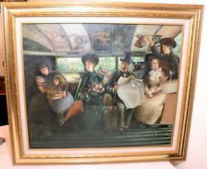vintage-original-Victorian-figural-train-transit-railroad-scene-oil-painting-art