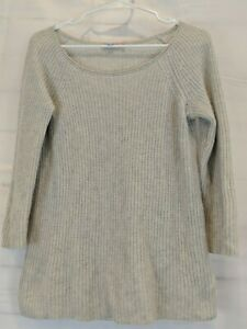 Calypso-St-Barth-Size-S-Gray-Ribbed-Cashmere-Pullover-Sweater