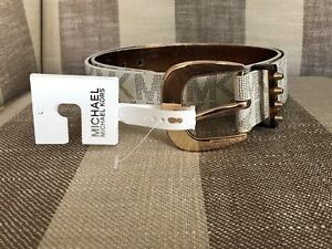 18edadcdb011 NWT MICHAEL KORS Women Belt White MK Logo Belt Signature w Gold ...