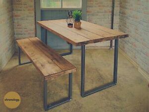 Industrial Scaffold Board Dining Table Bench Square Steel Legs