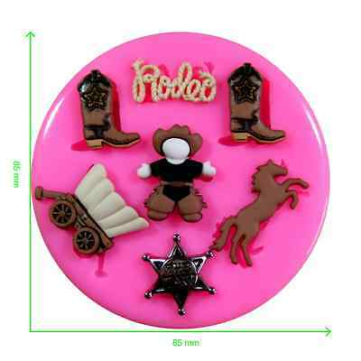 Cowboy Rodeo Sheriff Horse Silicone Mould by Fairie Blessings