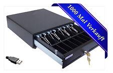 USB KASSENSCHUBLADE KASSENLADE GELDLADE iQCash 330 USB GELD KASSE BLACK NEU