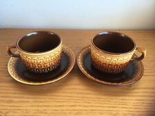Wedgwood Sierra Brown to Gold Earthenware Embossed Edge   2 Cup & Saucer Sets