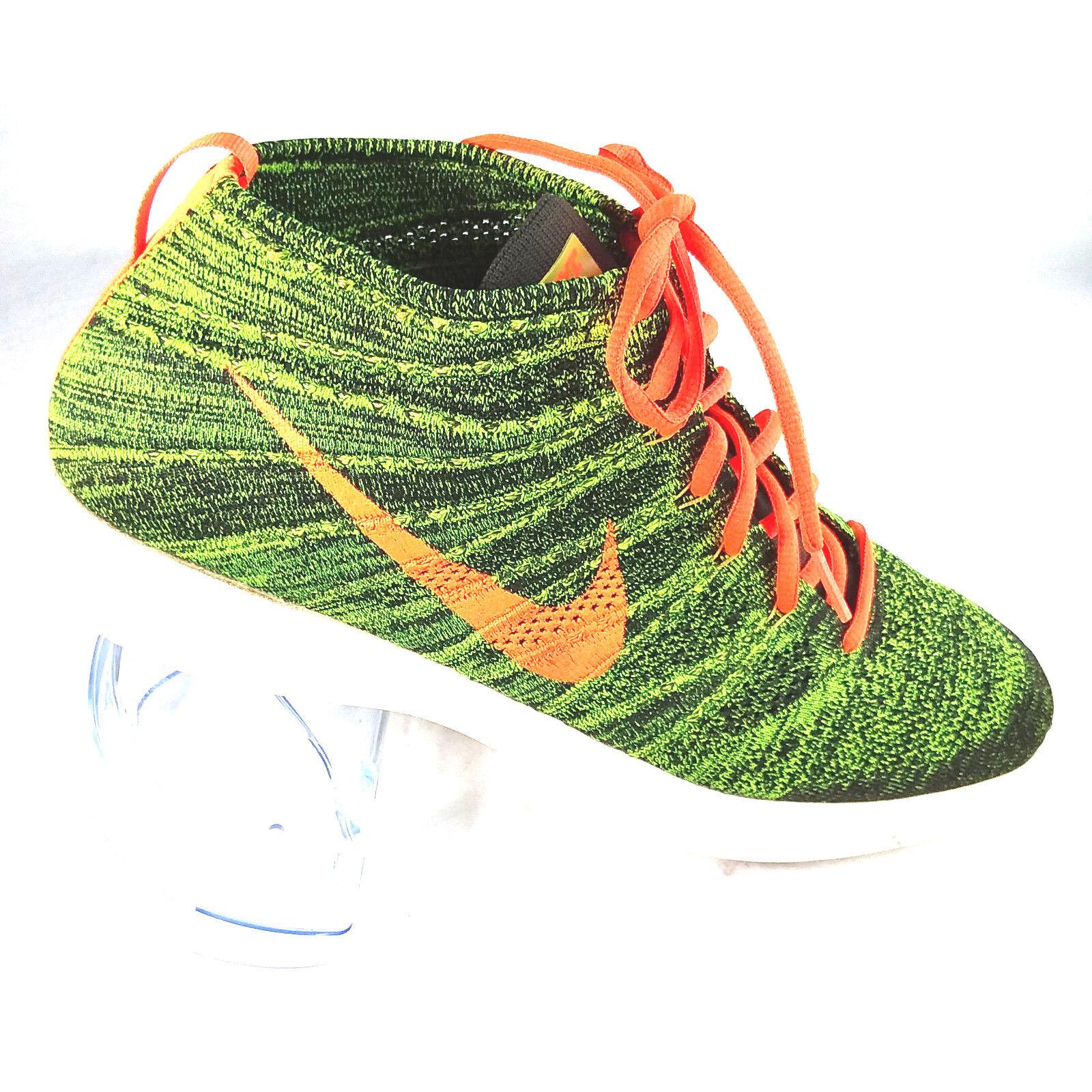 Nike Mens Flyknit Lunarlon Chukka Sequoia orange Green Size 14 554969-080