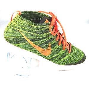 new style 79104 6a86c Image is loading Nike-Mens-Flyknit-Lunarlon-Chukka-Sequoia-Orange-Green-