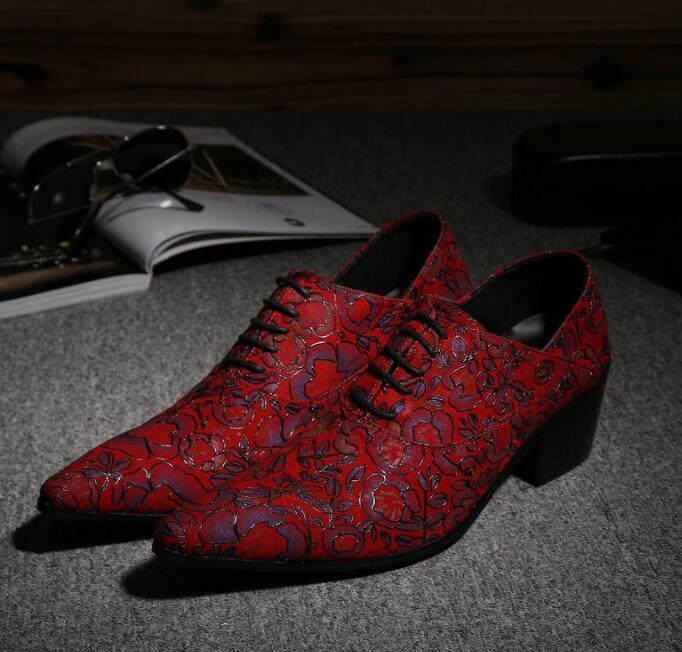 Hot Men Wedding Red Floral Pointed Toe Luxury Formal Lace up Dress shoes SZ38-46