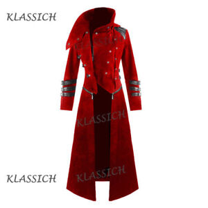 New-Scorpion-Men-039-s-Red-Coat-Long-Jacket-Gothic-Steampunk-Hooded-Trench