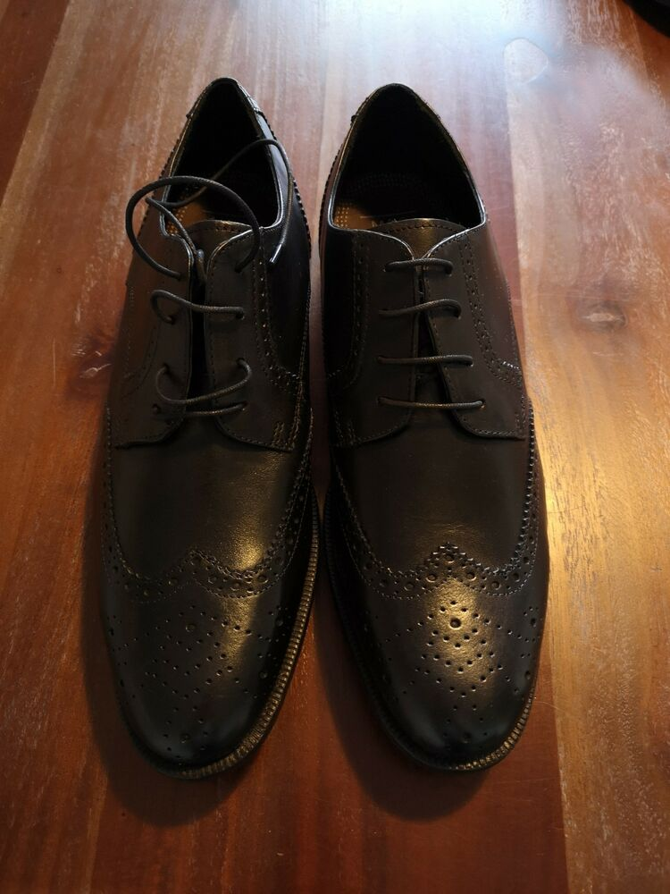 Homme Taille 13 Noir Chaussures En Cuir Marks And Spencer 59.00