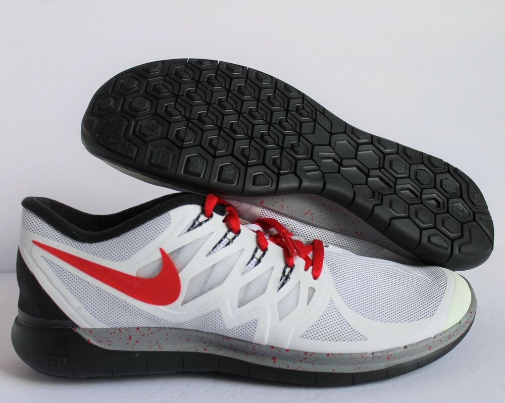 NIKE homme FREE courir 5.0 ID blanc-RED-noir-Gris SZ 11 [718192-991]