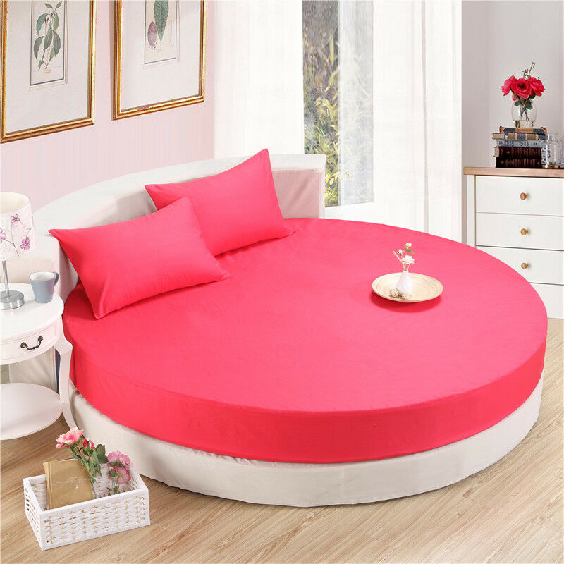 Fitted Bedding Set For Round Bed Mattress Cover Solid Cotton Flat Sheet 3-pieces