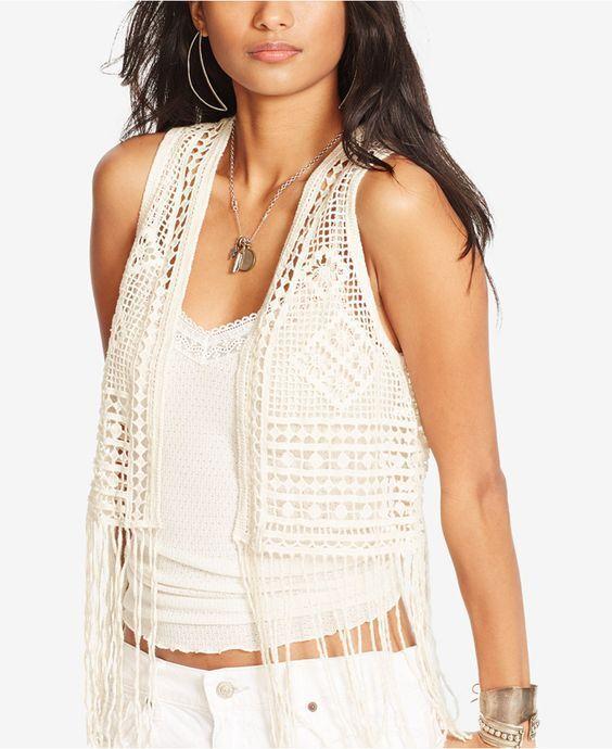 Denim & Supply Ralph Lauren Womens New  Cream Fringe Hem Crochet Vest Small