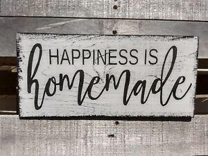 Farmhouse Sign Wood Happiness Is Homemade Rustic Wooden Decor Family Happy Sign Ebay