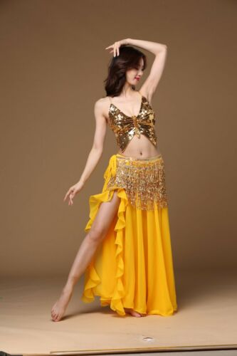 New Belly Dance 3 Pieces Top /& Skirt /& Belt Dancing Performance Costume 8 Colors