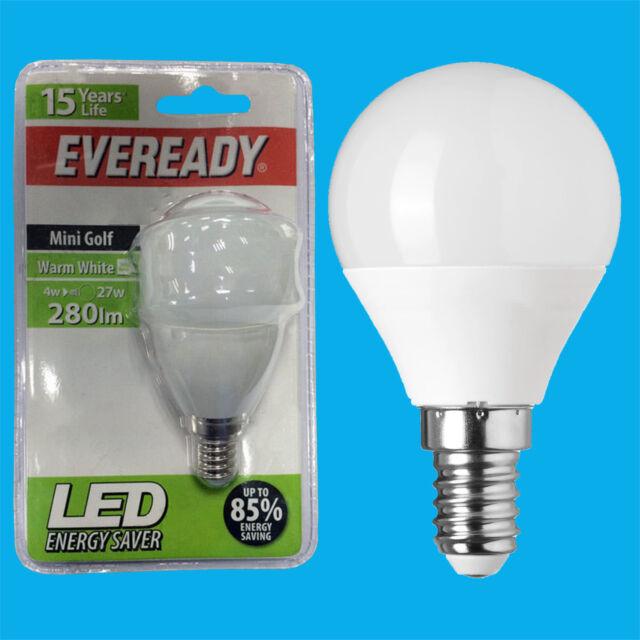 4W LED Eveready Ultra Low Energy Instant Start Mini Golf Light Bulb SES E14 Lamp