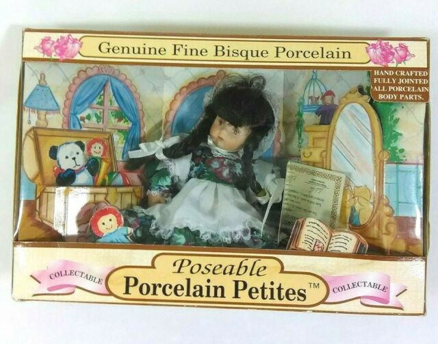 Genuine Fine Bisque Porcelain Poseable Petites Dan Dee Small Floral Dress  Doll