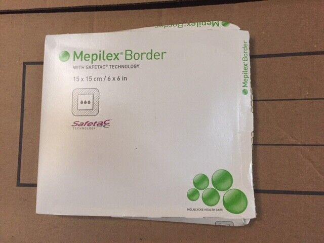 """(Box of 5) MOLNLYCKE Mepilex Border 6""""x6"""" 295400 Wound Dressing"""