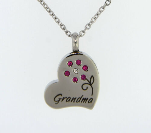 Grandma With Pink Flower Cremation Jewelry Pendant Keepsake Urn Chain /& Funnel