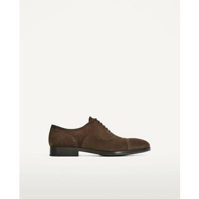 BNWT ZARA MAN BROWN SPLIT SUEDE LEATHER SHOES  REF.2023/202