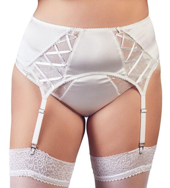 Sexy Basic Strapsgürtel Weiß Satin Strapse Strumpfhalter Übergrösse L bis 4XL