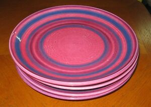 Set-of-4-Baldelli-Italy-Midcentury-Dinner-Plates-Pink-Blue-Concentric-Rings