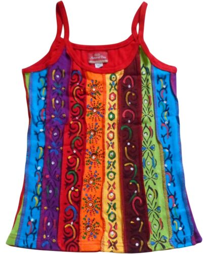 Fair Trade Nepal Baumwolle Rainbow Felder Muster//Bemalt Top S M L XL 10 12 14