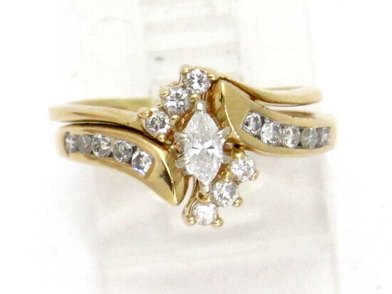 14k Yellow gold Marquise and Round Diamond Engagement and Wedding Ring Set .85ct