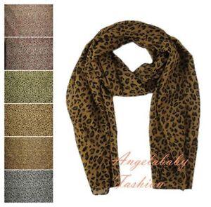Animal Leopard Print Scarf Shawl Wrap Stole Chiffon Large Long Soft Light UK