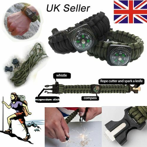 Survival paracord bracelet whistle gear gear gear flint fire starter striker boussole ☀ uk ☂ ead0d1