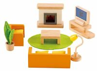 Hape - Happy Family Doll House - Furniture - Media Room , New, Free Shipping on sale