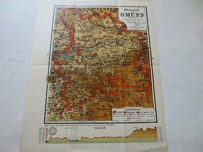 FäHig Oberamt Gmünd Oberamtskarte Landkarte Karte Wilh. C. Rübsamen Durchblutung Aktivieren Und Sehnen Und Knochen StäRken
