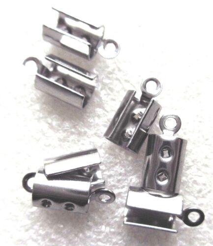 11426 environ 7 mm 30pcs Silver split end caps Artisanat bijoux