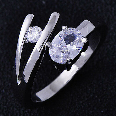 B1193 Adjustable Vogue Womens White Gold Filled Clear CZ  Ring Size 6#