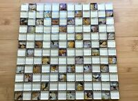 Gorgeous Hand Painting Butterfly Beige Mix Glass Mosaic Tile (Clearance)