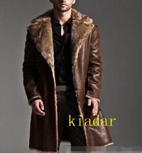7356ee132cc Men s winter leather fox fur coat lapel thick puffer jacket overcoat ...