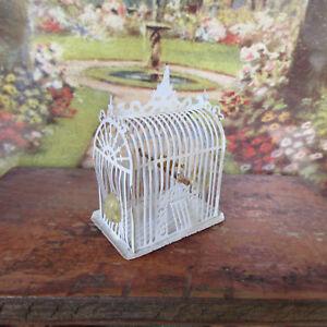 Dollhouse-ASIAN-BIRD-CAGE-Pet-Animal-LEW-KUMMEROW-ARTISAN-Artist-Handmade-White