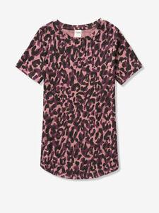 Victorias Secret PINK NWT Basic Purple Animal Print Short Sleeve Tshirt Small