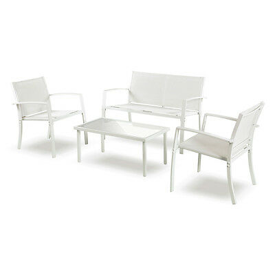Set salottino divano 2 poltrone tavolino salotto arredo giardino bianco 06573