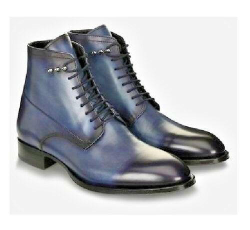 MENS HANDMADE LEATHER SHOES NAVY blueE ANKLE LEATHER BOOT FOR MEN