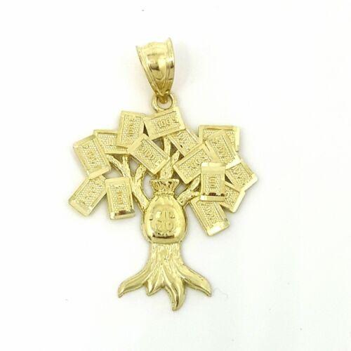 10k yellow gold $100 dollar sign money bag tree lucky pendant charm gift 2.5g