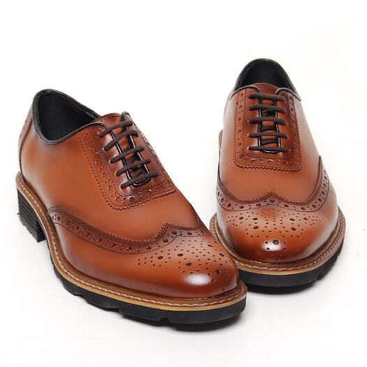 Men's brown leather close lacing round toe wingtips full brogue oxfords shoes