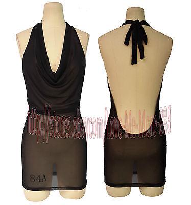 NEW Candy colour MESH SHEER Lingere Summer Halter Dance Mini Club Sundress Dress