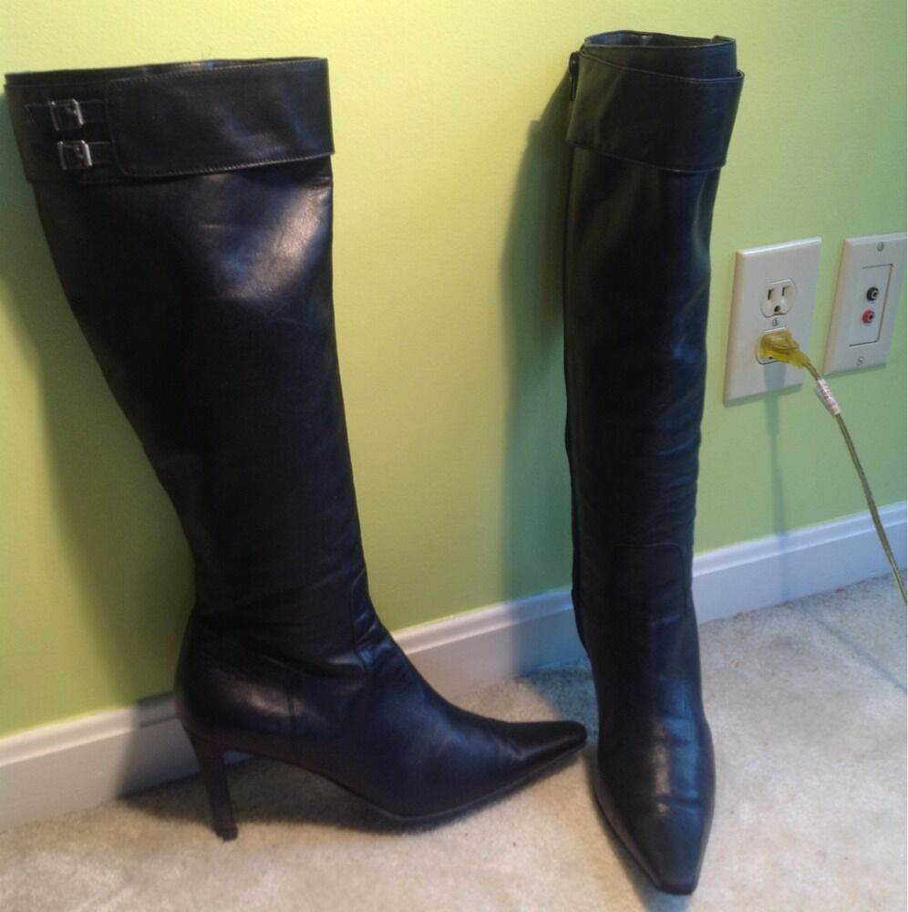 Ralph Lauren Lauren Lauren 'Alston'  Black Leather Boots Sz 9 Made in Brazil cf55e6