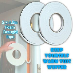 2 X 4.5M Foam Draught Excluder Weather Seal Strip Insulation Door Window Tape