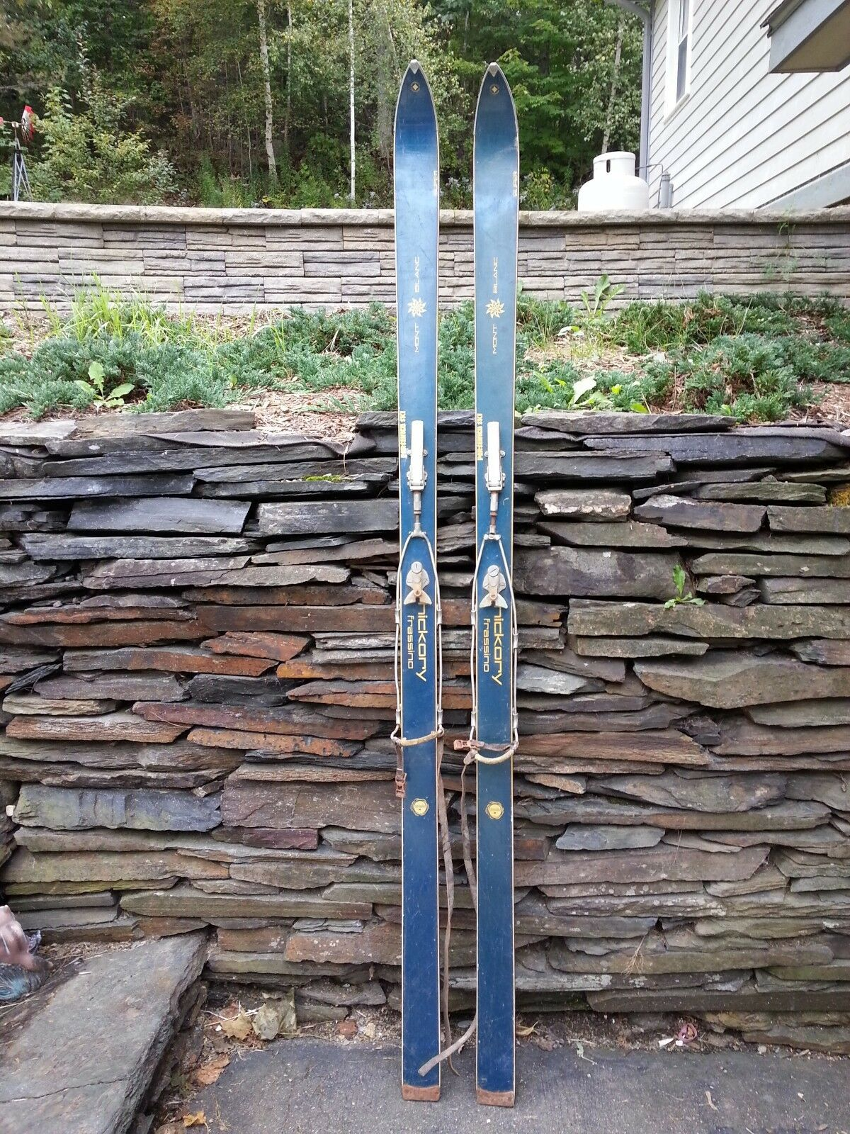 OLD Set of Wooden 75  Long blueE Skis signed MONT white with Metal Bindings