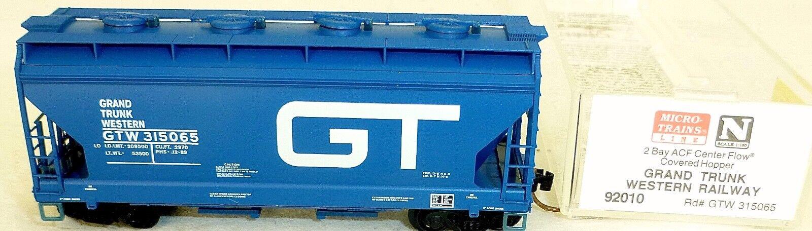 Micro-trains line 92010 2bay ACF Centerflow grand trunk western 65 n 1 160 x para
