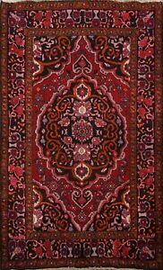Vintage-Geometric-Traditional-RED-NAVY-4x6-Bakhtiari-Area-Rug-Wool-Hand-knotted