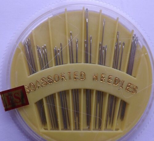 Handy YELLOW Compact 30 x Assorted Hand Sewing Needles