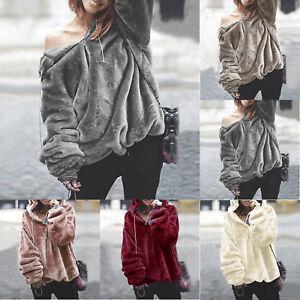 Women-Warm-Fluffy-Sweater-Hoodie-Pullover-Jumper-Long-Sleeve-Hooded-Outwear